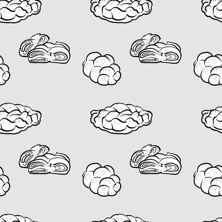 Challah seamless pattern greyscale drawing. Useable for wallpaper or any sized decoration. Handdrawn Vector Illustration
