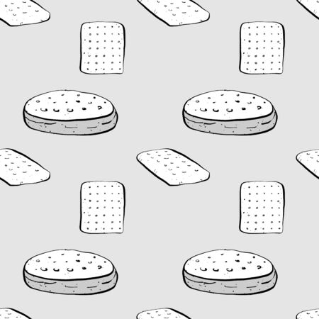 Hardtack seamless pattern greyscale drawing. Useable for wallpaper or any sized decoration. Handdrawn Vector Illustration