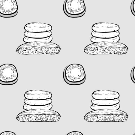 Bazlama seamless pattern greyscale drawing. Useable for wallpaper or any sized decoration. Handdrawn Vector Illustration
