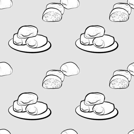 Mantou seamless pattern greyscale drawing. Useable for wallpaper or any sized decoration. Handdrawn Vector Illustration