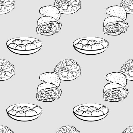 Curry bread seamless pattern greyscale drawing. Useable for wallpaper or any sized decoration. Handdrawn Vector Illustration Ilustração