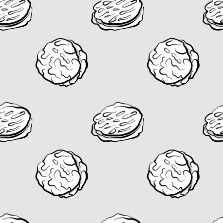 Khubz seamless pattern greyscale drawing. Useable for wallpaper or any sized decoration. Handdrawn Vector Illustration Çizim