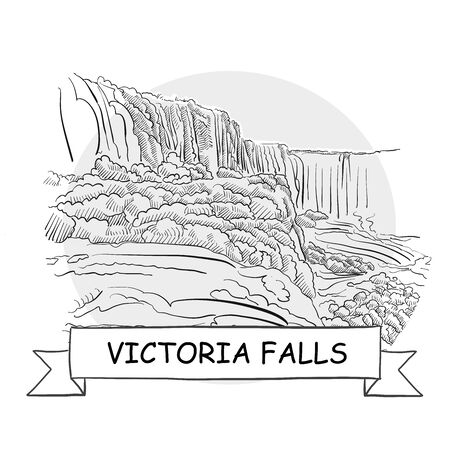 Victoria Falls Hand-Drawn Urban Vector Sign. Black Line Art Illustration with Ribbon and Title.