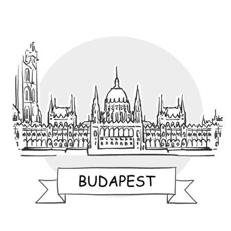 Budapest Cityscape Vector Sign. Line Art Illustration with Ribbon and Title.