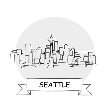 Seattle Cityscape Vector Sign. Line Art Illustration with Ribbon and Title.