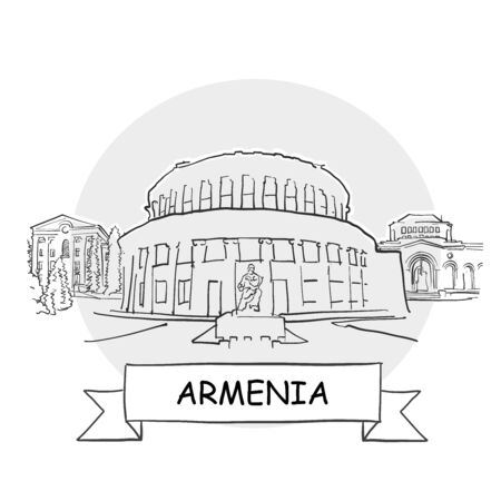 Armenia Hand-Drawn Urban Vector Sign. Black Line Art Illustration with Ribbon and Title.