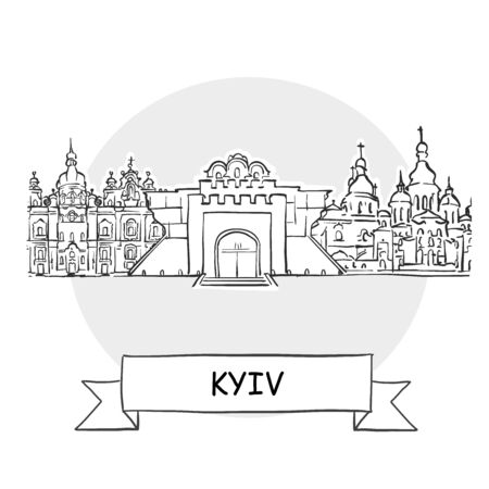 Kyiv Cityscape Vector Sign. Line Art Illustration with Ribbon and Title.