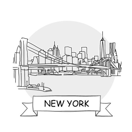New York  Cityscape Vector Sign. Line Art Illustration with Ribbon and Title. Vettoriali