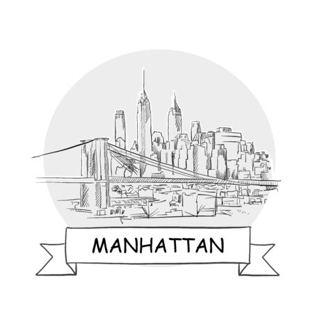 Manhattan Cityscape Vector Sign. Line Art Illustration with Ribbon and Title.