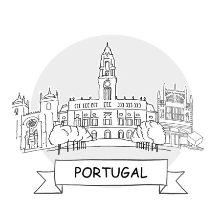 Portugal Hand-Drawn Urban Vector Sign. Black Line Art Illustration with Ribbon and Title. 矢量图像