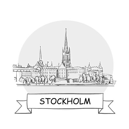 Stockholm Cityscape Vector Sign. Line Art Illustration with Ribbon and Title.