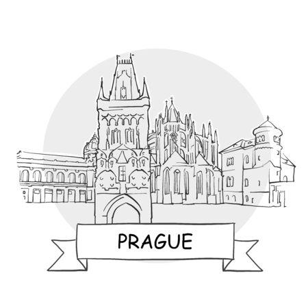 Prague Hand-Drawn Urban Vector Sign. Black Line Art Illustration with Ribbon and Title. Zdjęcie Seryjne - 142022002