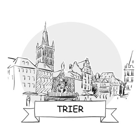 Trier Hand-Drawn Urban Vector Sign. Black Line Art Illustration with Ribbon and Title. Zdjęcie Seryjne - 142022013