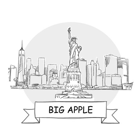 Big Apple Cityscape Vector Sign. Line Art Illustration with Ribbon and Title.