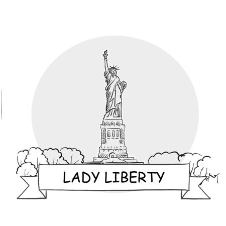 Lady Liberty Cityscape Vector Sign. Line Art Illustration with Ribbon and Title. Zdjęcie Seryjne - 142022012