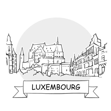 Luxembourg Cityscape Vector Sign. Line Art Illustration with Ribbon and Title.