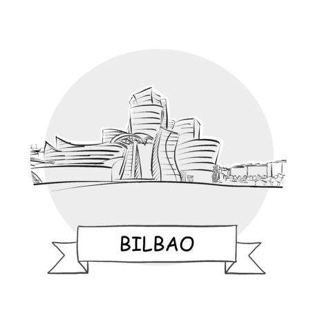 Bilbao Cityscape Vector Sign. Line Art Illustration with Ribbon and Title.