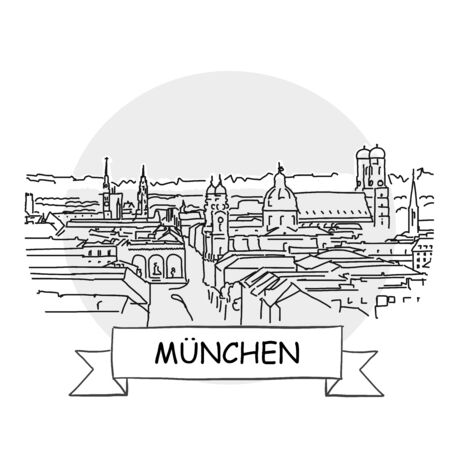 Munich Hand-Drawn Urban Vector Sign. Black Line Art Illustration with Ribbon and Title.  イラスト・ベクター素材