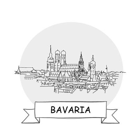 Bavaria Hand-Drawn Urban Vector Sign. Black Line Art Illustration with Ribbon and Title.  イラスト・ベクター素材
