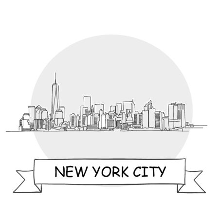 New York City Hand-Drawn Urban Vector Sign. Black Line Art Illustration with Ribbon and Title.