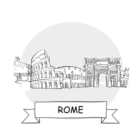 Rome Cityscape Vector Sign. Line Art Illustration with Ribbon and Title.