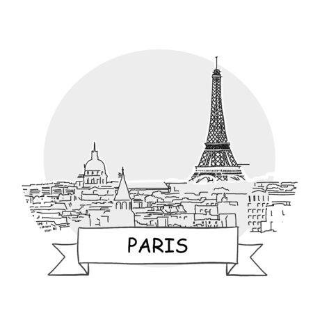 Paris Hand-Drawn Urban Vector Sign. Black Line Art Illustration with Ribbon and Title.