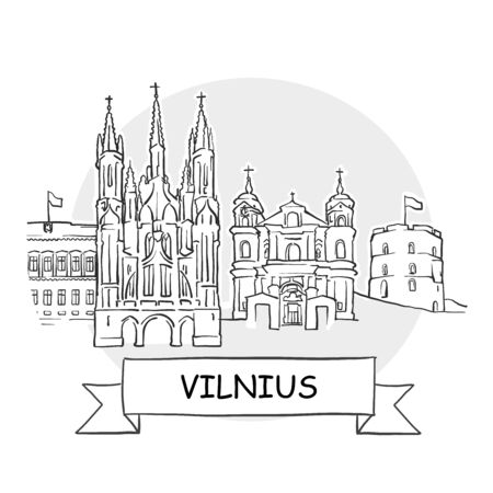 Vilnius Cityscape Vector Sign. Line Art Illustration with Ribbon and Title.