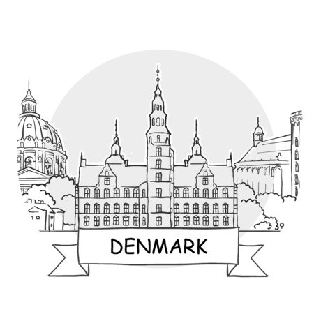 Denmark Hand-Drawn Urban Vector Sign. Black Line Art Illustration with Ribbon and Title.
