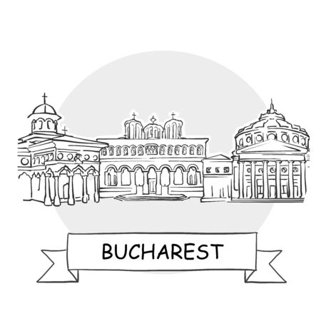 Bucharest Cityscape Vector Sign. Line Art Illustration with Ribbon and Title.