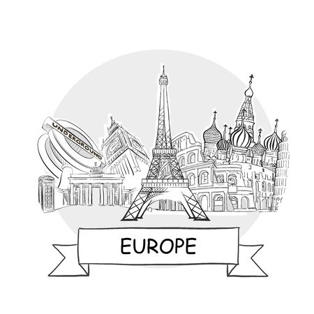 Europe Hand-Drawn Urban Vector Sign. Black Line Art Illustration with Ribbon and Title. Ilustracja