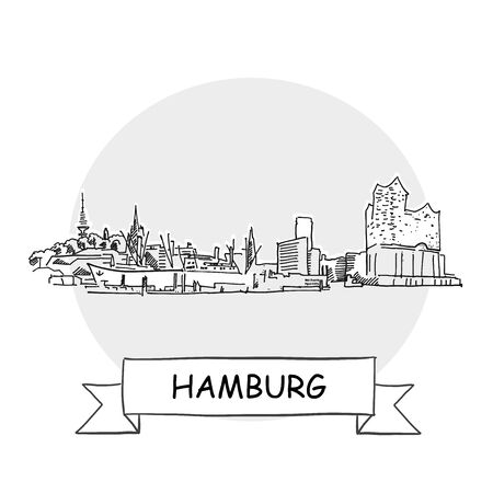Hamburg Cityscape Vector Sign. Line Art Illustration with Ribbon and Title. Zdjęcie Seryjne - 142022003