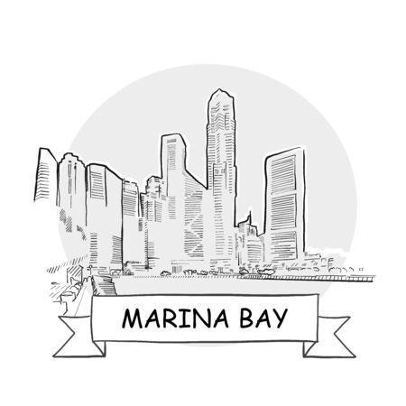 Marina Bay Hand-Drawn Urban Vector Sign. Black Line Art Illustration with Ribbon and Title. Zdjęcie Seryjne - 142022005