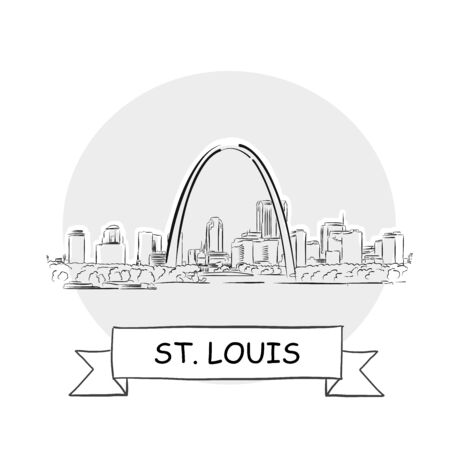 St. Louis Cityscape Vector Sign. Line Art Illustration with Ribbon and Title. 矢量图像