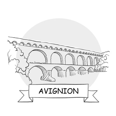 Avignion Hand-Drawn Urban Vector Sign. Black Line Art Illustration with Ribbon and Title.