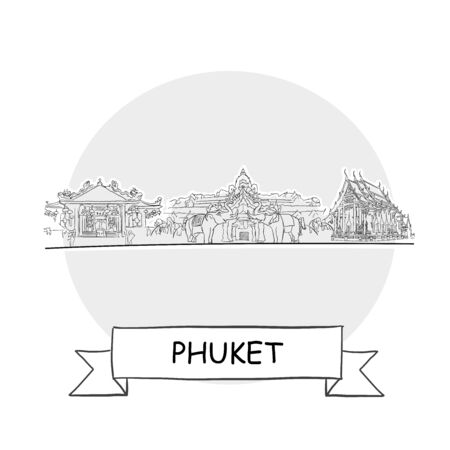Phuket Cityscape Vector Sign. Line Art Illustration with Ribbon and Title. Zdjęcie Seryjne - 142022007