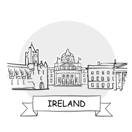 Ireland Hand-Drawn Urban Vector Sign. Black Line Art Illustration with Ribbon and Title.