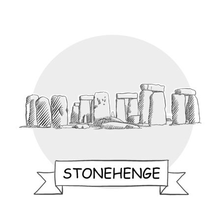 Stonehenge Hand-Drawn Urban Vector Sign. Black Line Art Illustration with Ribbon and Title.