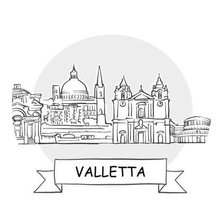 Valletta Cityscape Vector Sign. Line Art Illustration with Ribbon and Title.