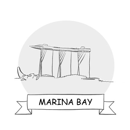 Marina Bay Cityscape Vector Sign. Line Art Illustration with Ribbon and Title.