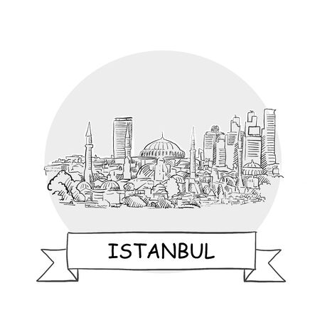Istanbul Cityscape Vector Sign. Line Art Illustration with Ribbon and Title. 免版税图像 - 141558699