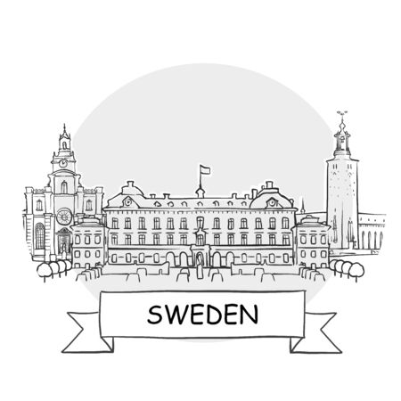 Sweden Hand-Drawn Urban Vector Sign. Black Line Art Illustration with Ribbon and Title.