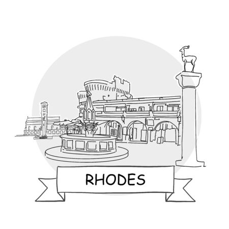 Rhodes Hand-Drawn Urban Vector Sign. Black Line Art Illustration with Ribbon and Title.