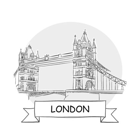 London Hand-Drawn Urban Vector Sign. Black Line Art Illustration with Ribbon and Title. Ilustrace