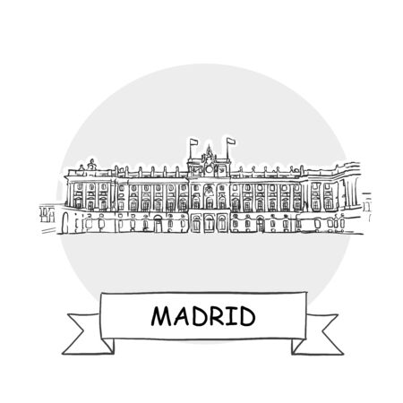 Madrid Cityscape Vector Sign. Line Art Illustration with Ribbon and Title.