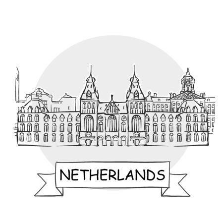 Netherlands Hand-Drawn Urban Vector Sign. Black Line Art Illustration with Ribbon and Title.