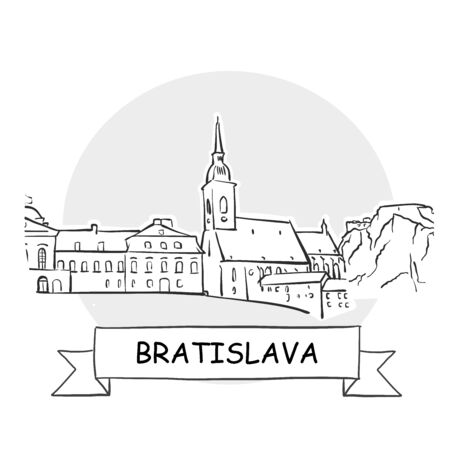 Bratislava Cityscape Vector Sign. Line Art Illustration with Ribbon and Title.