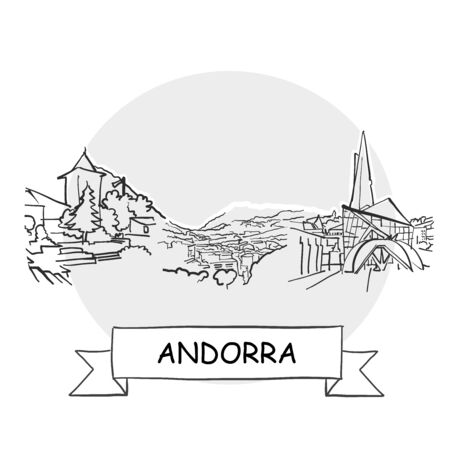 Andorra Hand-Drawn Urban Vector Sign. Black Line Art Illustration with Ribbon and Title.