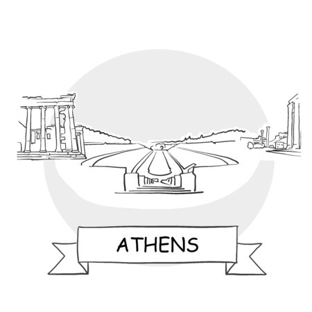 Athens Cityscape Vector Sign. Line Art Illustration with Ribbon and Title.