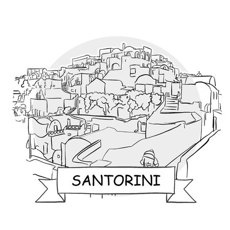 Santorini Hand-Drawn Urban Vector Sign. Black Line Art Illustration with Ribbon and Title.