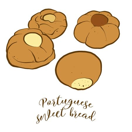 Colored drawing of Portuguese sweet bread bread. Vector illustration of Sweet bread food, usually known in Portugal. Colored Bread sketches.